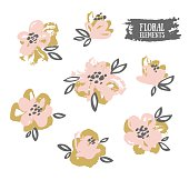 Set of vector stylish grunge pink and gold flowers.
