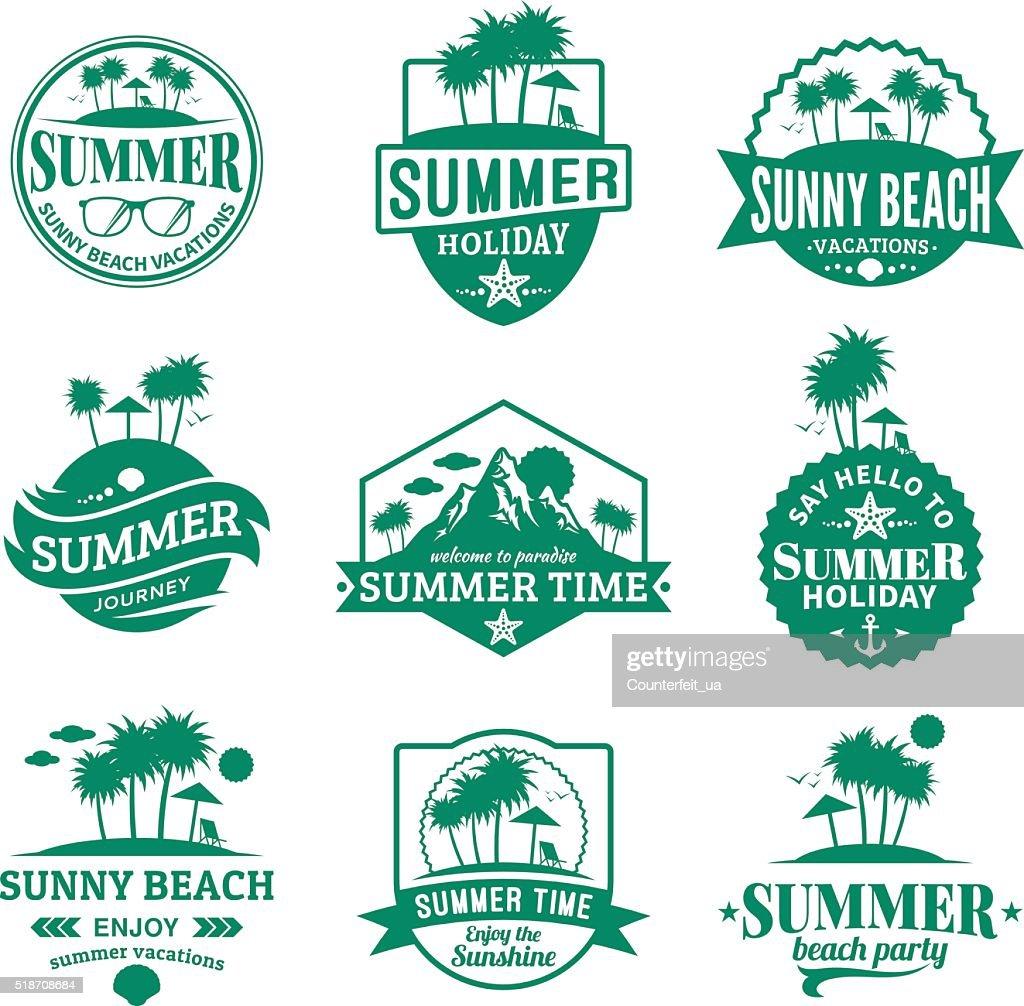 Set of vector summer emblems and design elements