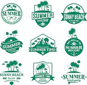 Set of vector summer emblems and design elements