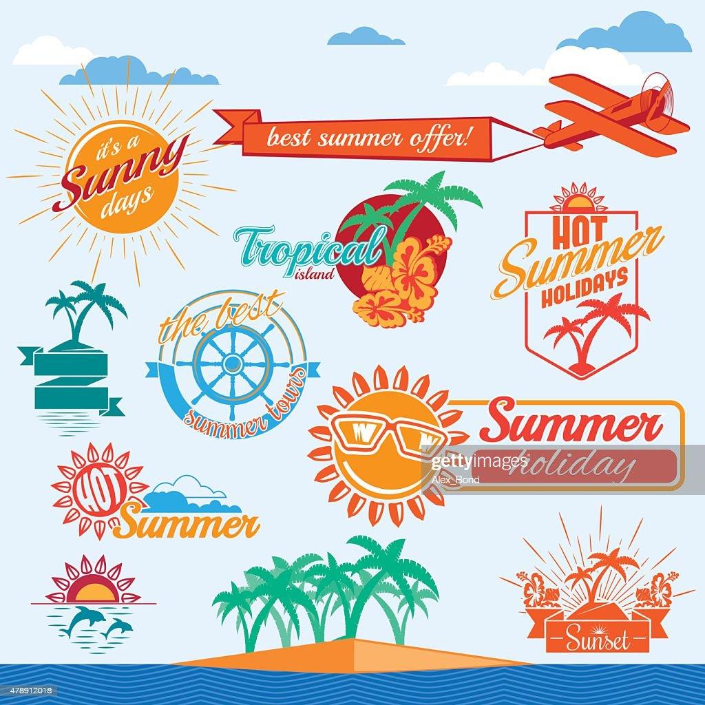 Set of vector summer emblems