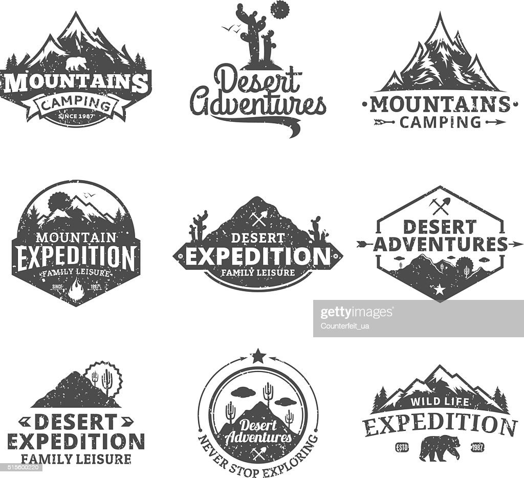 Set of vector summer, mountain and outdoor adventures labels