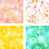 Set of vector textures in pink, yellow, and teal