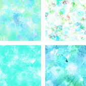 Set of vector textures in vibrant teal toned