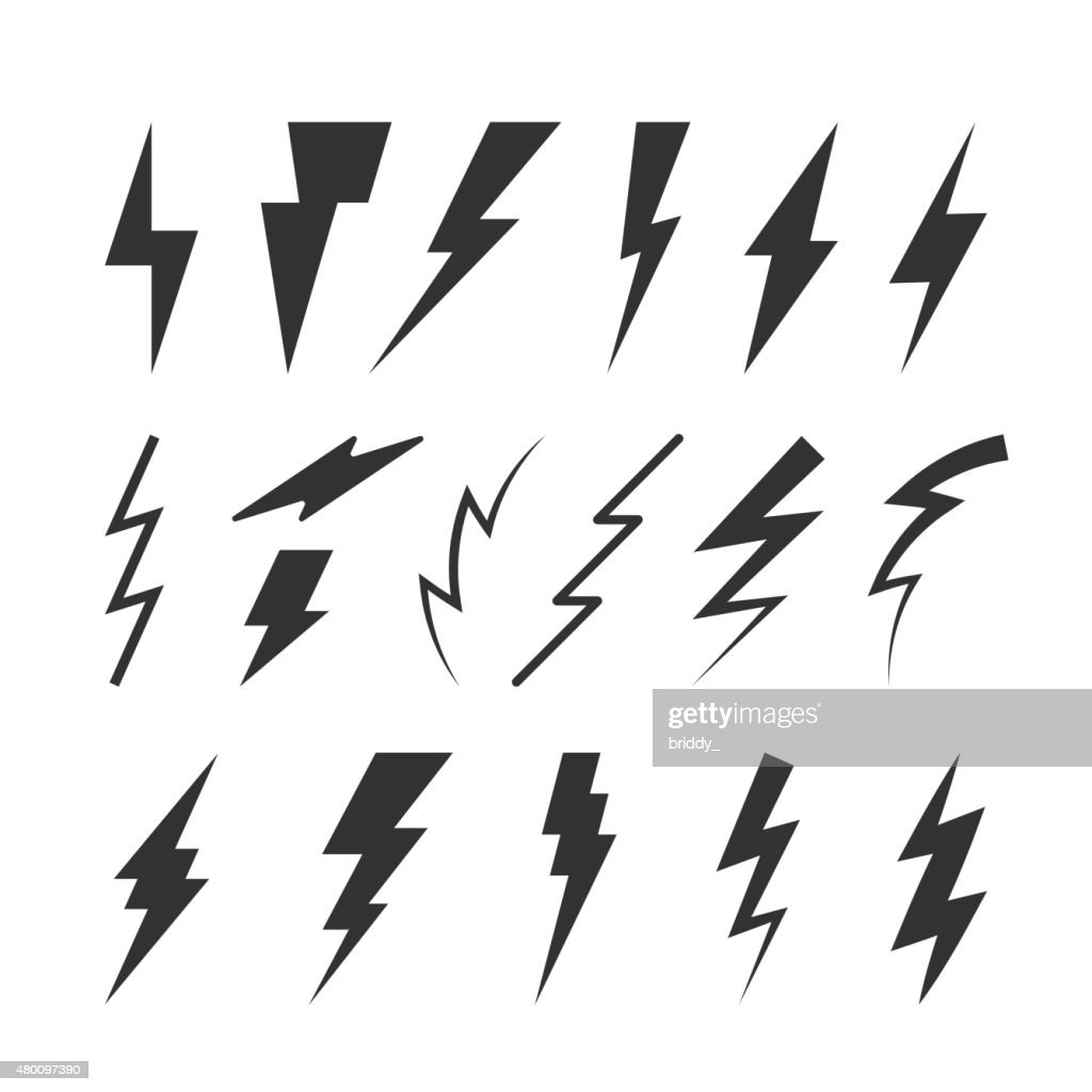 Set of Vector Thunderbolts Silhouettes