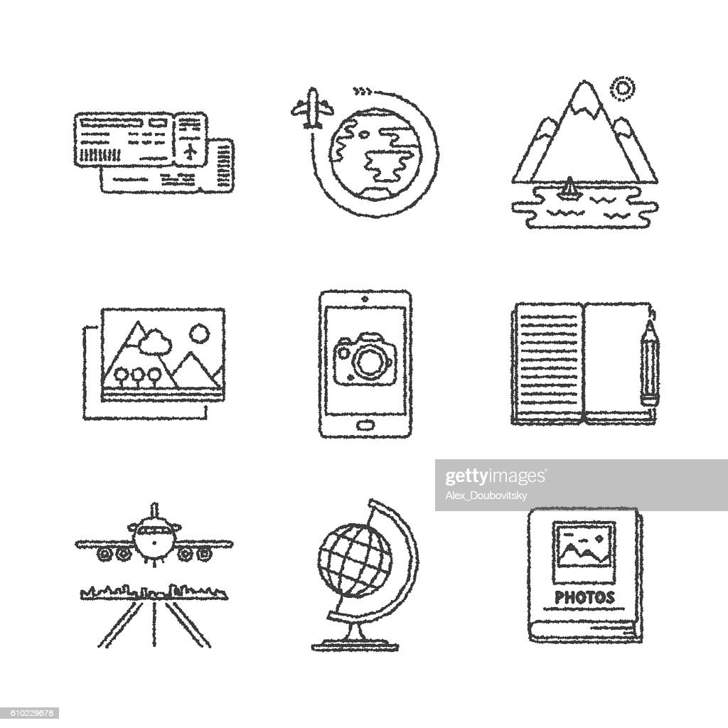 Set of vector travel icons and concepts in sketch style