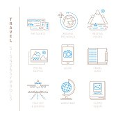 Set of vector travel icons and concepts