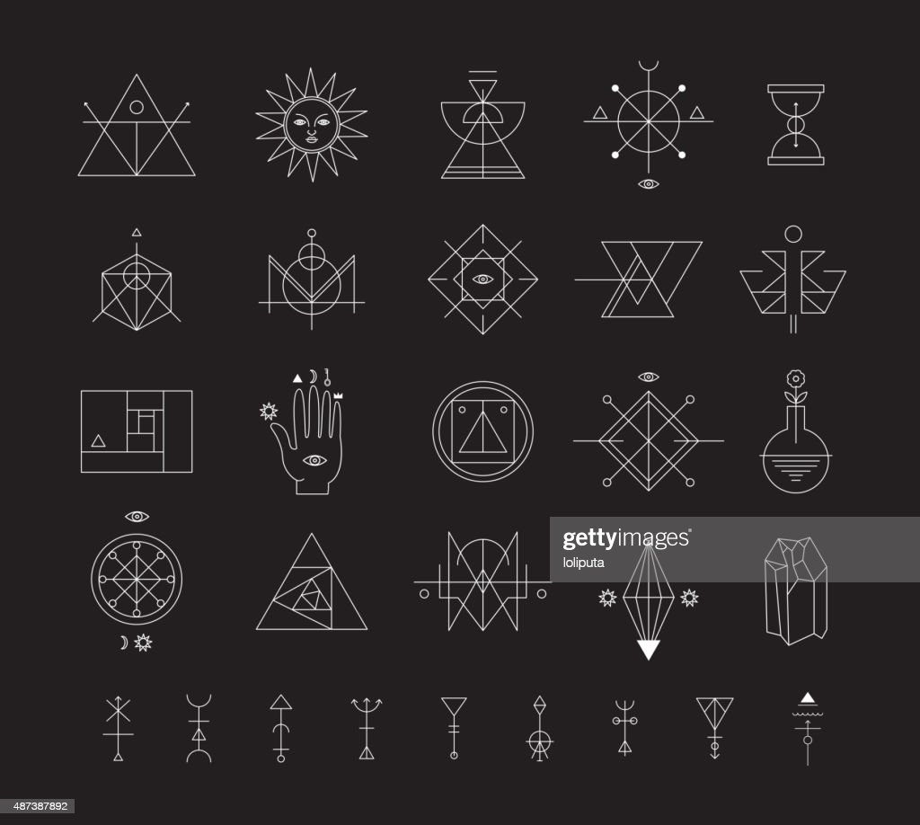 Set of vector trendy geometric icons alchemy symbols collection set of vector trendy geometric icons alchemy symbols collection vector art biocorpaavc Choice Image