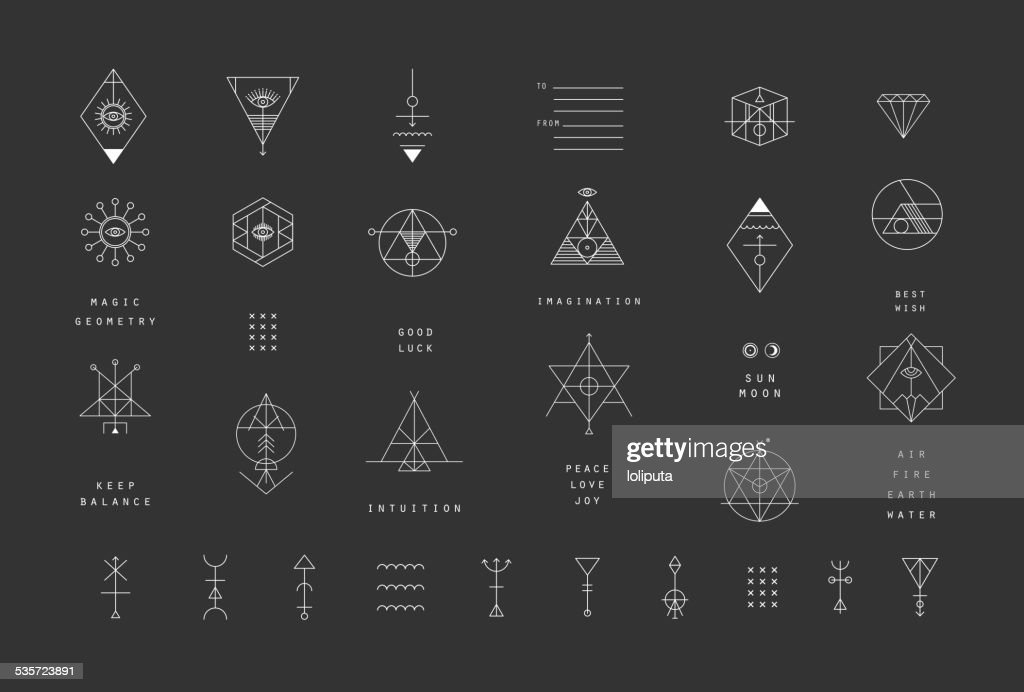 Set of vector trendy geometric icons. Alchemy symbols collection.
