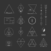 Set of vector trendy geometric icons and logotypes.