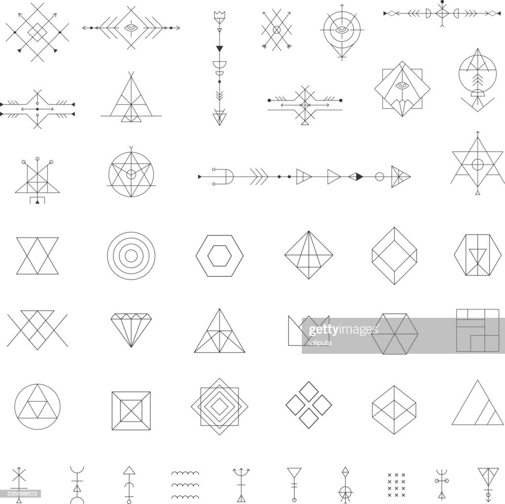 Set of vector trendy geometric icons.