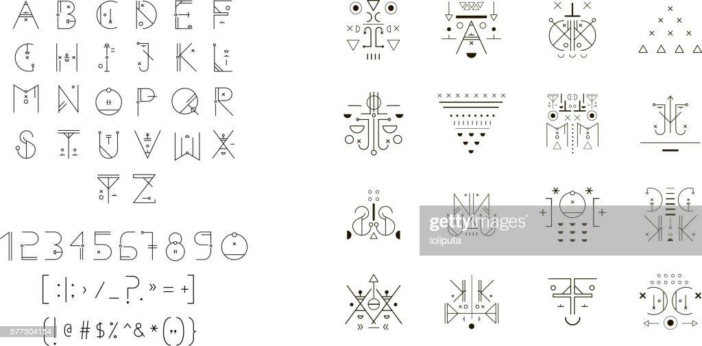 Set of vector trendy icons plus unusual geometric alphabet