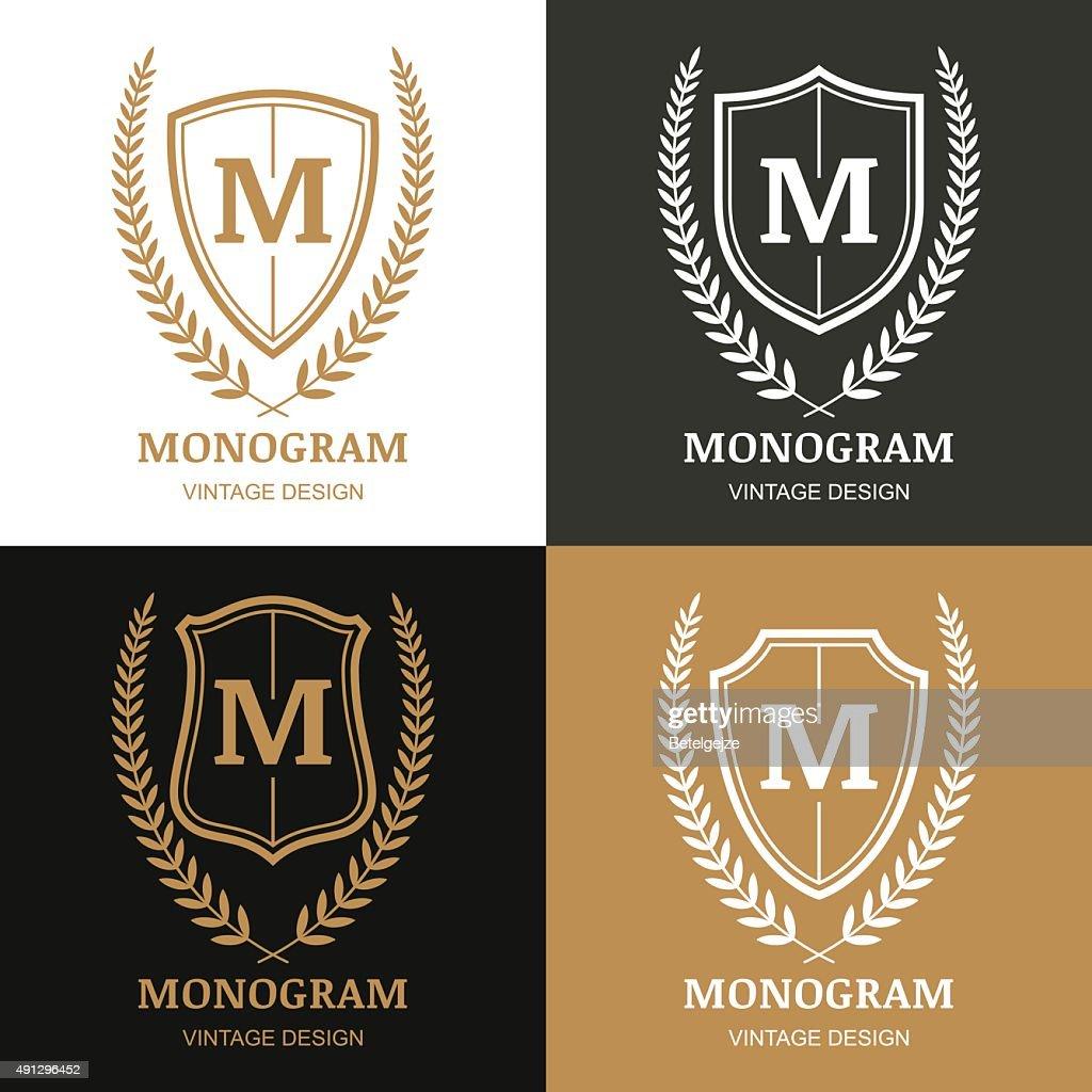 Set of vector vintage emblem design template.