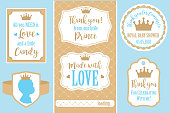 Set of vector vintage frames. Templates gift tags for royal party( wedding, baby shower, birthday)
