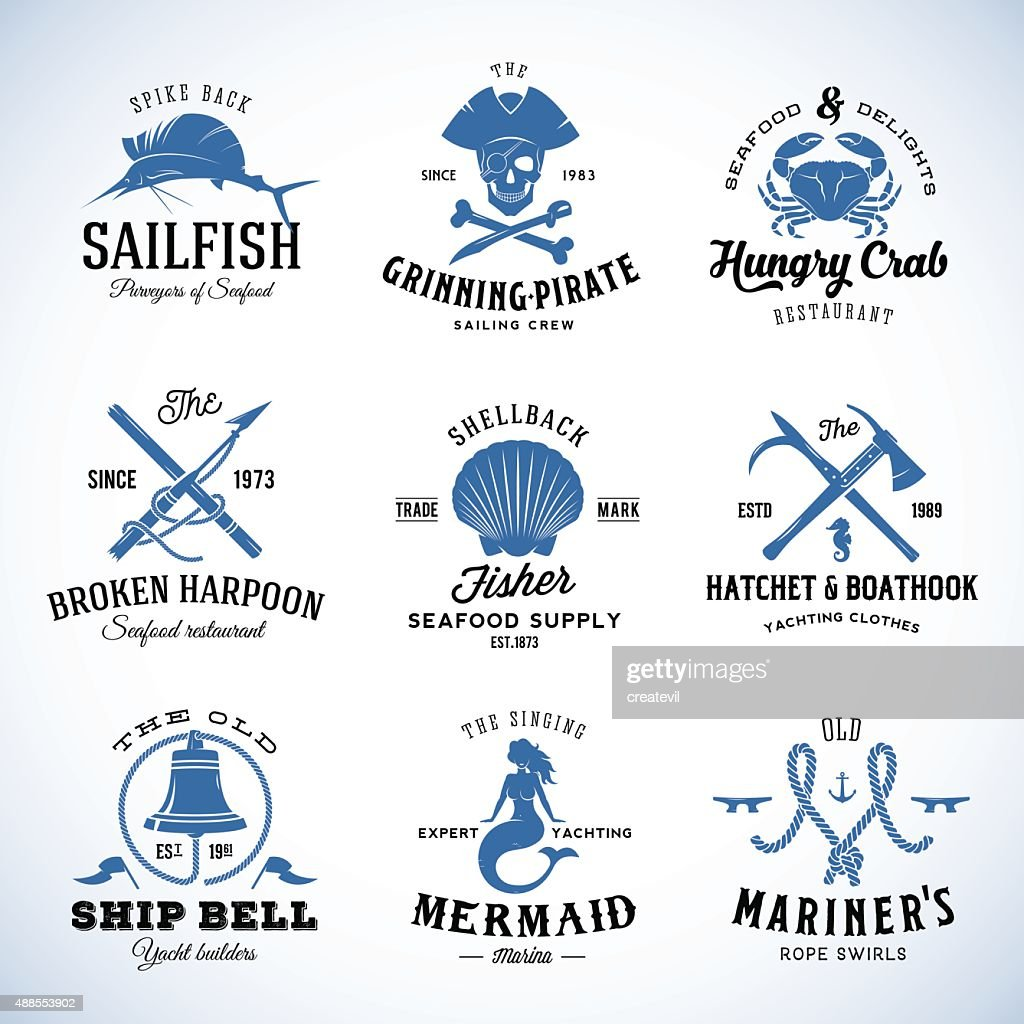 Set of Vector Vintage Nautical and Marine Labels, Signs or