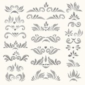 Set of vector watercolor decorative elements in faded grey color