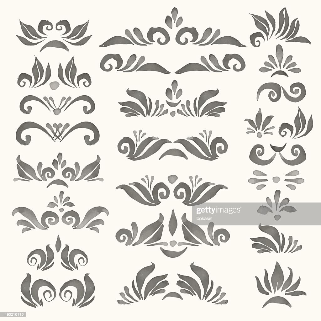 Set of vector watercolor decorative elements