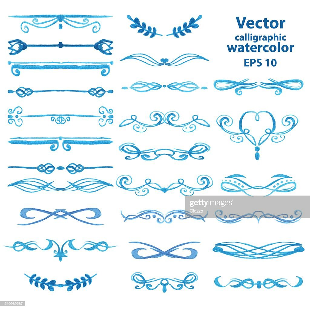 Set of vector watercolor frames