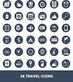 Set of vector web icons Travel and tourism