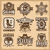 Set of vector wild west logos