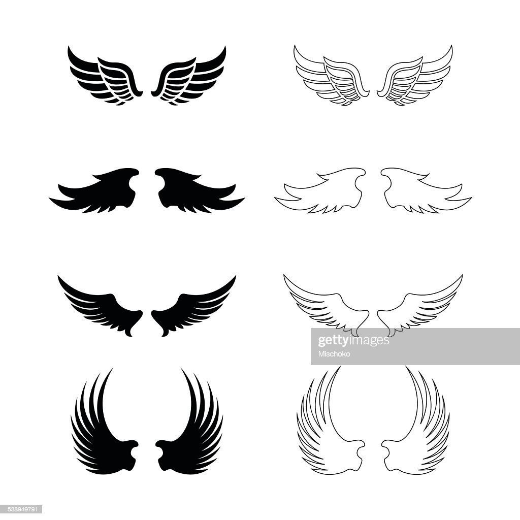 Set of vector wings - decorative design elements