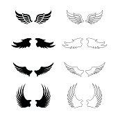 Set of vector wings - decorative design elements