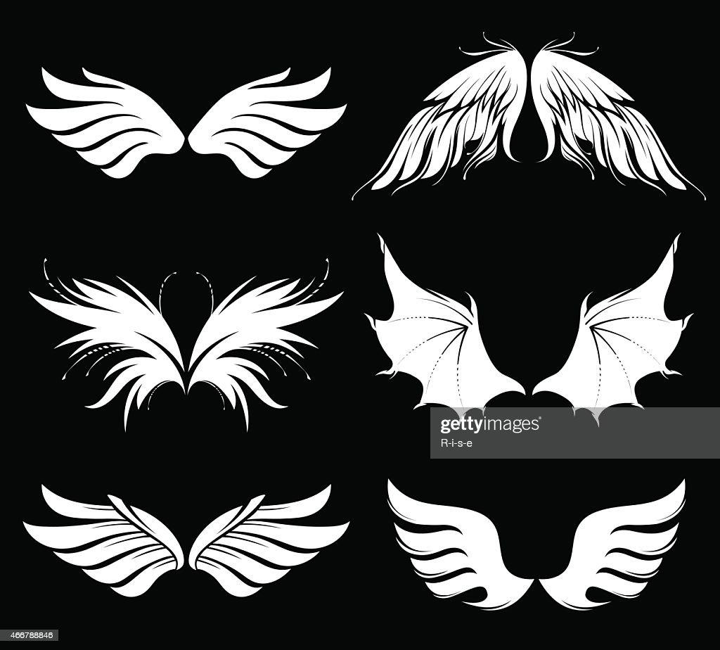 Set of vector wings