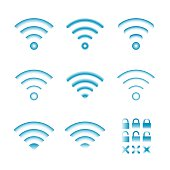 Set of vector wireless icons for wifi remote control access