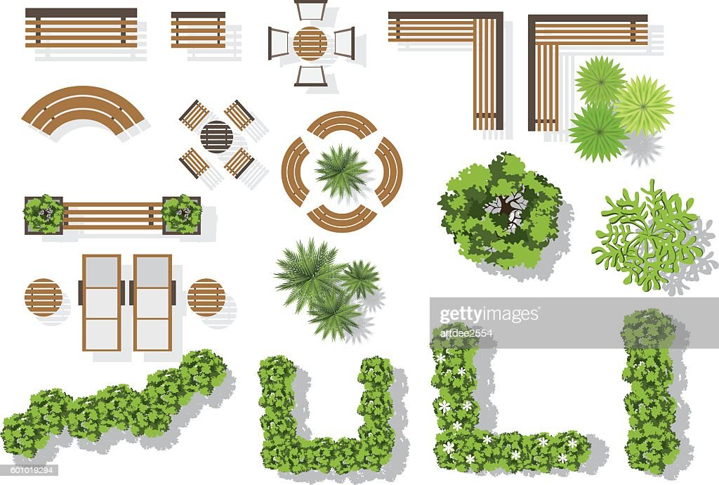 Set of vector wooden benches and treetop symbols.