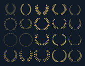 Set of vector wreaths and branches. .