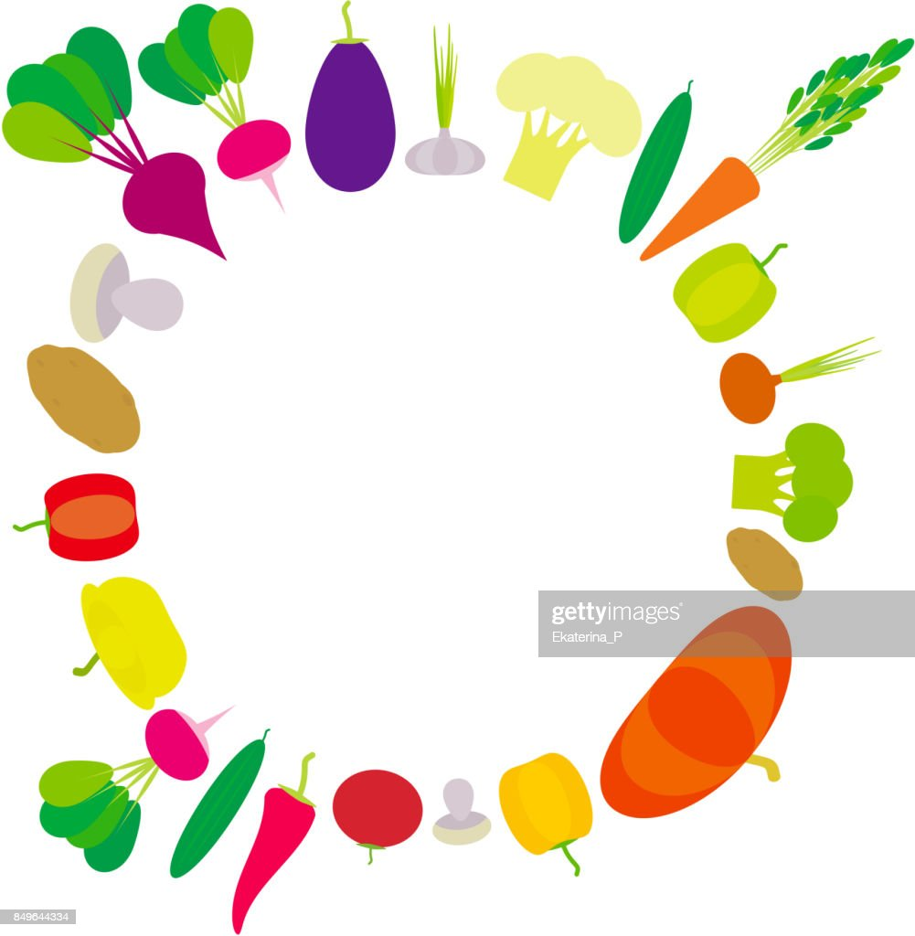 Set of vegetables bell peppers, pumpkin, beets, carrots, eggplant, red hot peppers, cauliflower, broccoli, potatoes, mushrooms, cucumber, onion, garlic, tomato, radish isolated on white. Vector