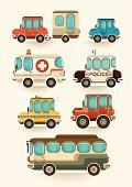 Set of vehicles.