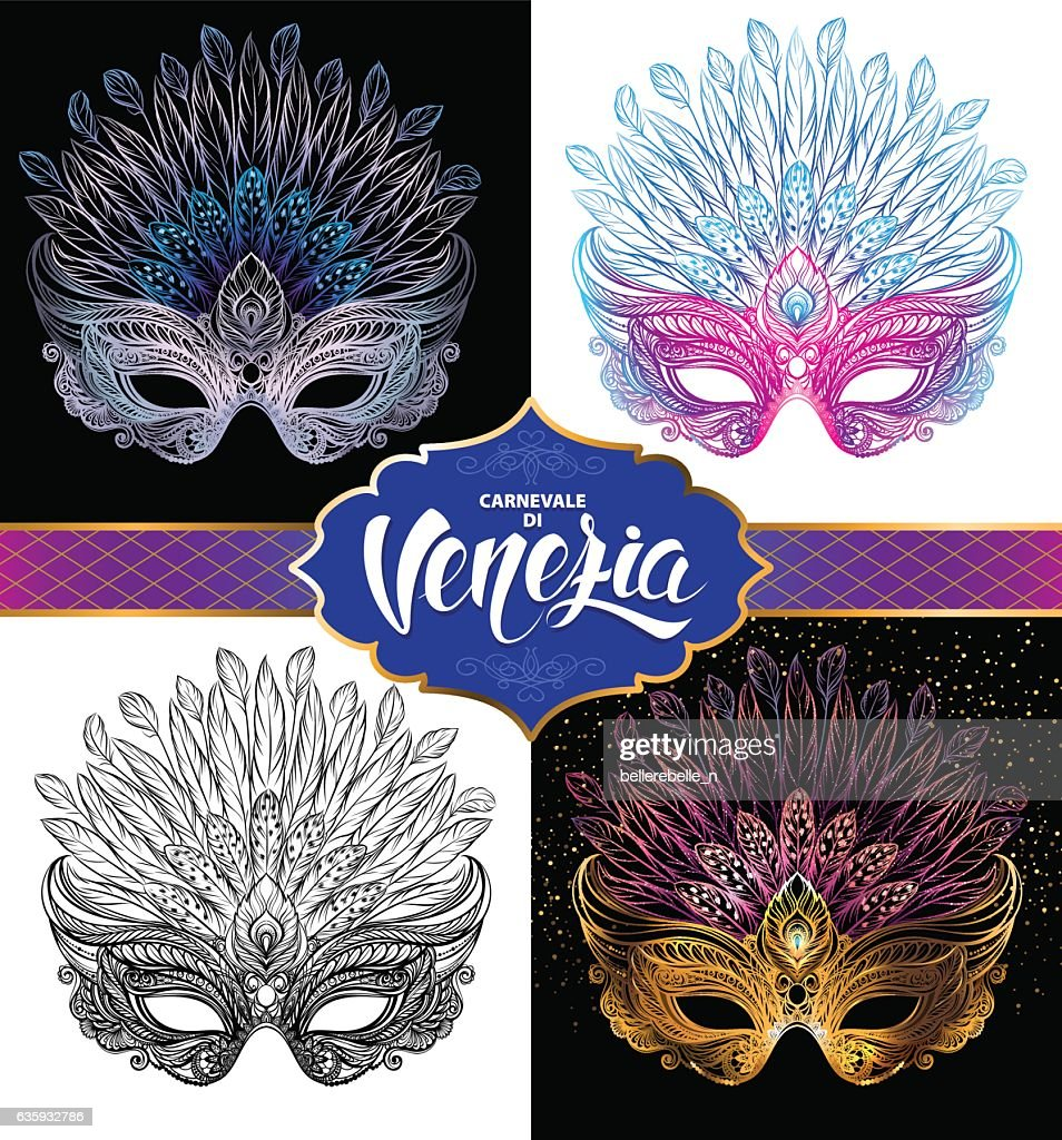 Set of Venetian carnival masks.
