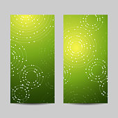 Set of vertical banners. Geometric pattern with connected lines and dots
