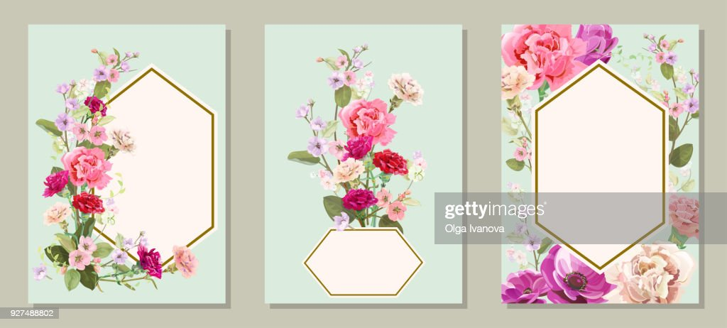 Set of vertical cards for Mother's Day with carnation, poppy, spring blossom: red, pink, white flowers, leaves, vintage background, botanical illustration, watercolor style, polygonal frame, vector