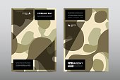 Set of Veterans Day brochure, poster templates in khaki style