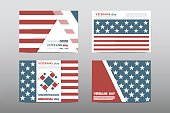 Set of Veterans Day brochure, poster templates in USA flag