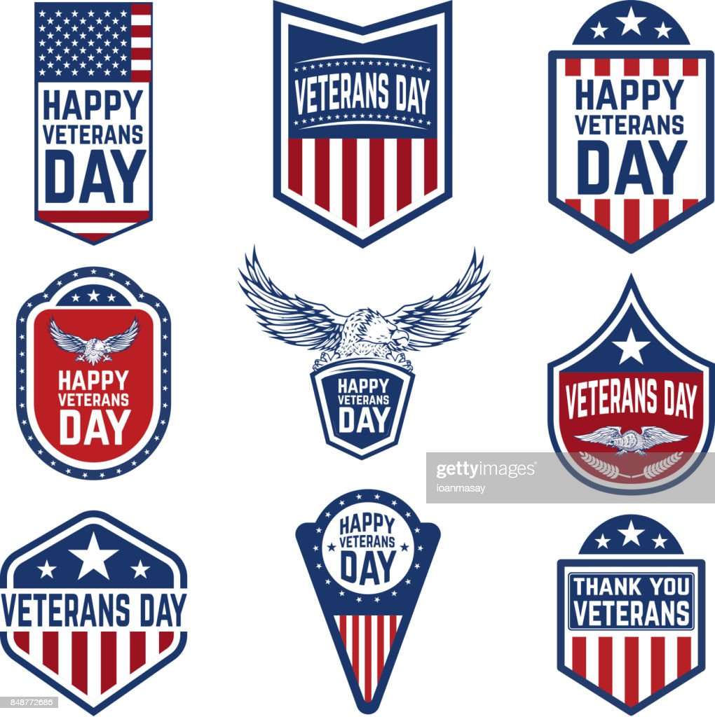 Set of veterans day emblems. USA culture.