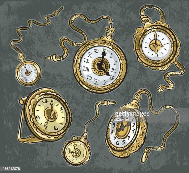 Set of Victorian steampunk pocket watches