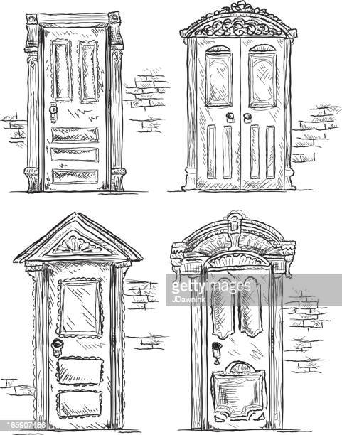 set of victorian style doors - architectural feature stock illustrations, clip art, cartoons, & icons