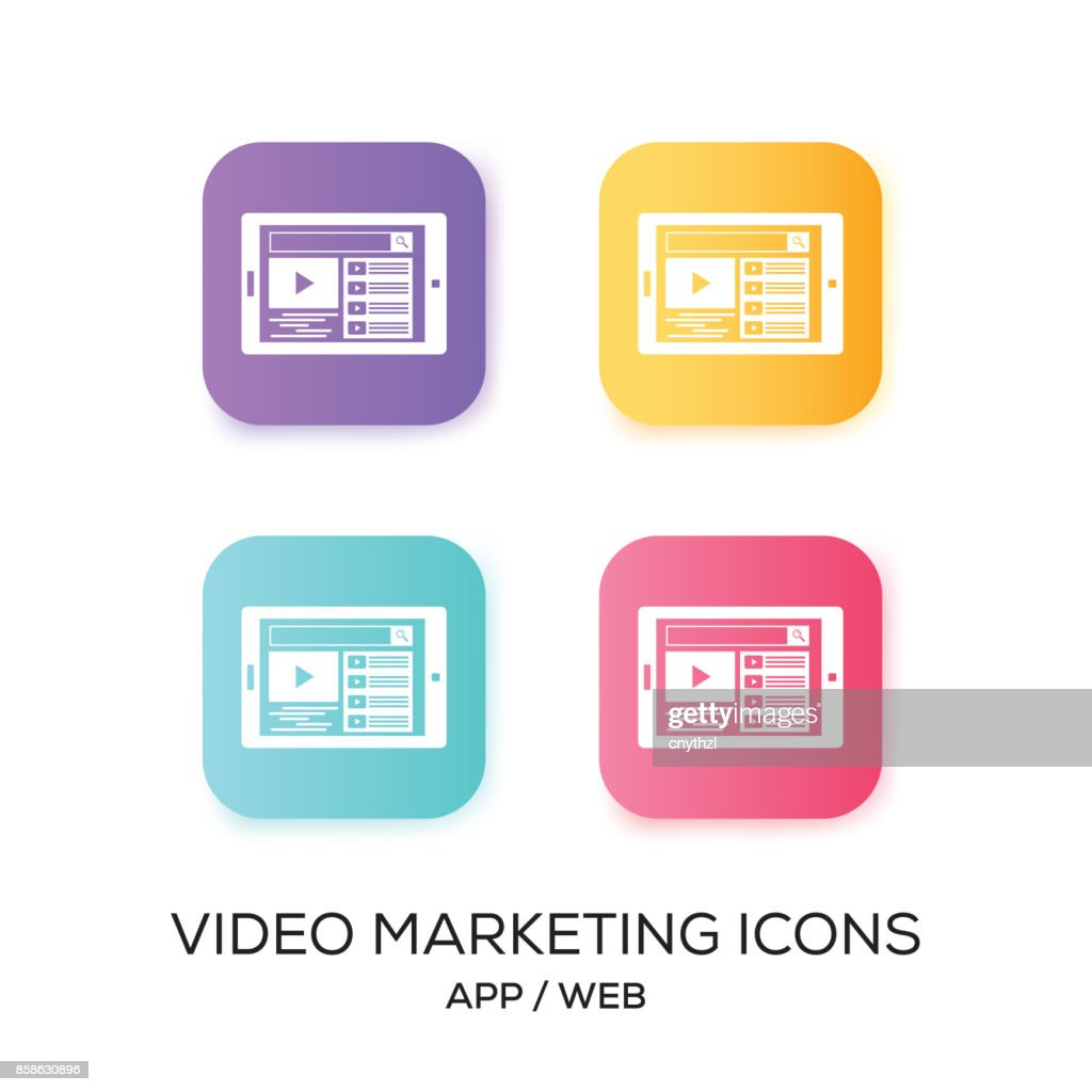 Reihe von Video-Marketing App-Symbol : Stock-Illustration