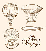Set of vintage air balloons