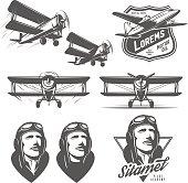 Set of vintage aircraft design elements. Biplanes, pilots, design emblems