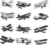 set of vintage airplanes icons. Aircraft illustrations. Design element for  label, emblem, sign. Vector illustration.