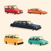 Set of vintage american automobile. Cartoon vector illustration. Car isolated.