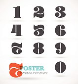 Set of vintage and retro numeric font numbers