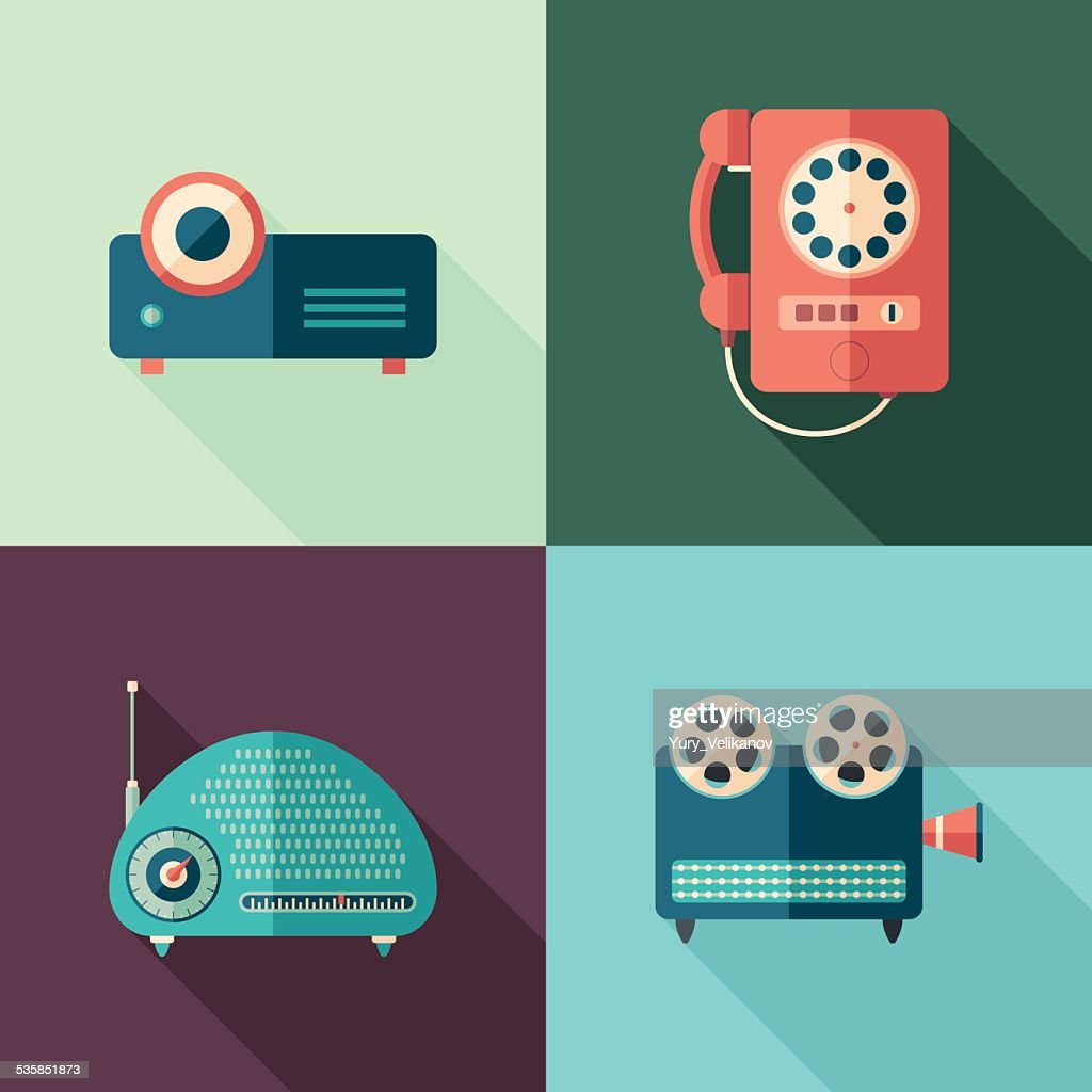 Set of vintage audio and video icons with long shadows.