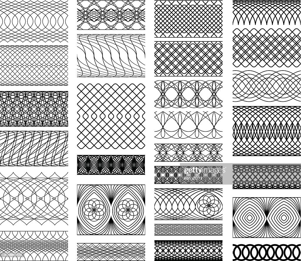 Set of Vintage backgrounds, Guilloche ornamental Element