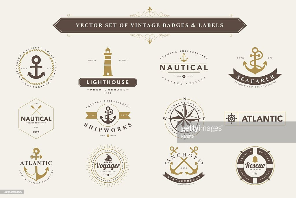 Set of vintage badges and labels.