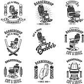 Set of vintage barber shop emblems with barber chair, badges and design elements.  for label, sign.