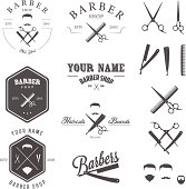 Set of vintage barber shop labels, badges and design elements